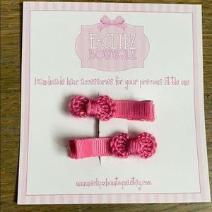 New handmade crochet bow pair of hair clips